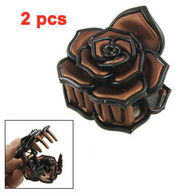 2 Pcs Lady DIY Hairstyle 8 Teeth Rose Shaped Hair Claw Clip Clamp Brown Black