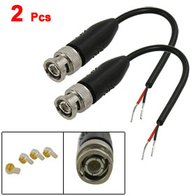 2 Pcs CCTV Security Camera Coaxial Cable 16cm w Male BNC Connector