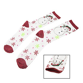 Women Green Hat Snowman Snowflake Pattern Red White Socks Pair