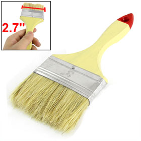 "2 3/4"" Width Aluminum Ferrule Wood Handle Beige Faux Fur Hair Brush Paint Tool"