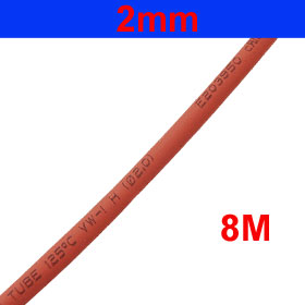 Red 26.2Ft 8M Long 2mm Dia Polyolefin Heat Shrinkable Tube Sleeve