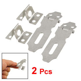 "Safety Padlock Gates Door Latch Silver Tone Hasp Staple 2"" 2 Pcs"