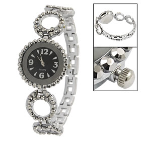 Gray Faux Rhinestone Detailing Round Case Metal Band Wrist Watch for Woman