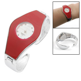 Women Red Dial Silver Tone Alloy Band Bracelet Watch for Lady
