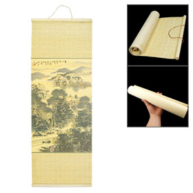 Bamboo Mat Chinese Brush Painting Mountains Rivers Landscape Picture Wall Hanging Ornamen