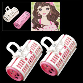 2 Pcs Lady Beauty Tool Pink White Plastic Clip Roller Hair Curler