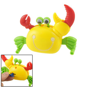 Plastic Yellow Body Crab Wind Up Clockwork Spring Toy for Kids