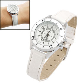 Girls White Faux Leather Band Round Dial Quartz Wrist Watch
