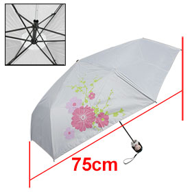White Plastic Japanese Dolln Bottle Case Sun Folding Umbrella Gray