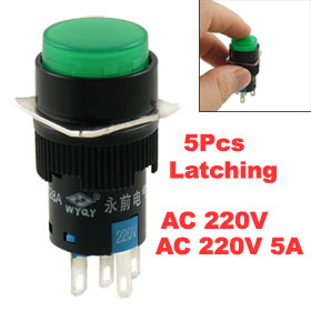 5 Pcs 5 Terminals Latching Type Green Lamp Round Push Button Switch AC 220V