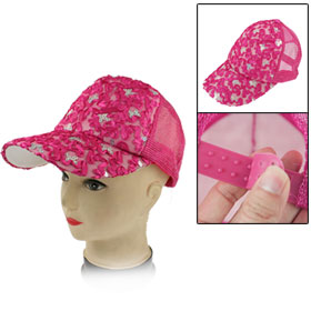 Fuchsia Mesh Sequin Adjustable Strap Sun Visor Hat for Women