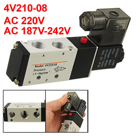 Single-head 2 Position 5 Way Magnetic Solenoid Valve AC 220V 2.0W