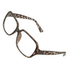 Lady Leopard Pattern Plastic Full Rim Clear Lens Plain Glasses