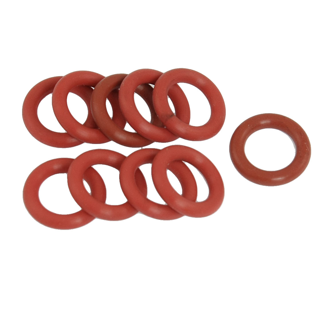 10-Pcs-19mm-Outside-Dia-3-5mm-Thick-Flexible-Silicone-O-Ring-Seal-Brick-Red