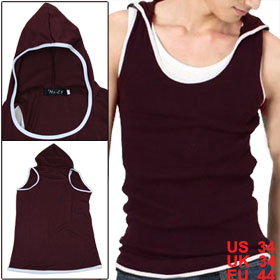 Men Burgundy Sleeveless Racerback Hooded Shirt Tank Top S