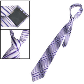 Man Purple Diagonal Stripe Pattern Self Tie Necktie