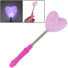 Pink Heart Shape Spring Neck Flexible White LED Light Flashing Lamp