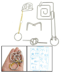 4 Pcs Silver Tone Metal Polished Puzzle Rings Educational Toy