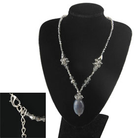 Woman Glittery Clear Gray Faceted Plastic Beads Necklace Gift
