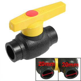 Plumbing 20mm x 20mm Slip Ends Full Port HDPE Ball Valve Black
