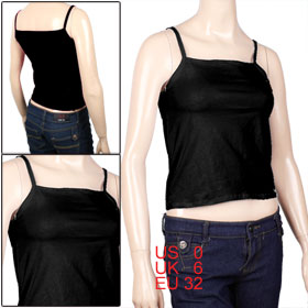 Women Spaghetti Strap Square Neckline Semi-sheer Basic Tank Top Black XS