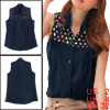 Ladies Dark Blue Button Closure Semi Sheer Colorful Dots Upper Shirt S