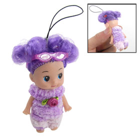Light Purple Plush Clothes Designed Doll Pendant for Handbag