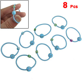8 Pcs Baby Blue Beads Decor Elastic Rubber Hair Band Ponytail Holder