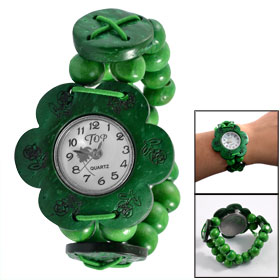 Round Wooden Beaded Elasticated Band Flower Shape Green Wooden Shell Wristwatch