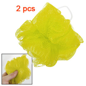 Yellow Foam Bubble Soft Nylon Mesh Net Bath Shower Pouf 2 Pcs