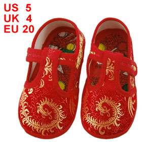 Pair Gold Tone Phoenix Pattern Hook Loop Fastener Red Toddler Shoes