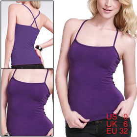 Women Purple Summer Slim Square Neck Sleeveless Spaghetti Straps Tank Top XS