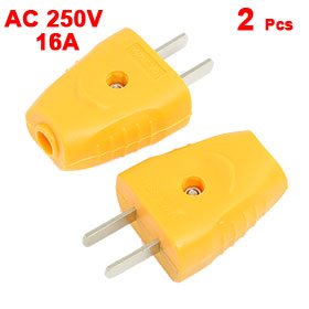 2 x Yellow Plastic Housing US USA 2 Pin Power Adapter Plug Connector AC 250V 16A