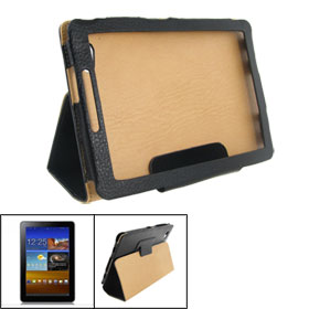 Black Faux Leather Sheath Protective Case for Samsung Galaxy Tab 6800