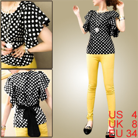 Lady Black Scoop Neck Flouncing Sleeve Dots Semi Sheer Chiffon Blouse S