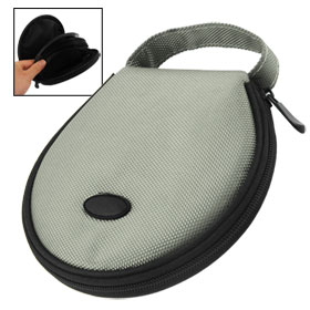 Gray Black Nylon Hand Carry Round CD Holder Bag for 20 CD Discs