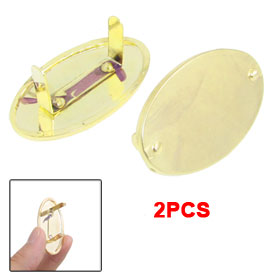 2 Pcs Oval Shaped Metal Handbag Backpack Ornament Marks Copper Tone