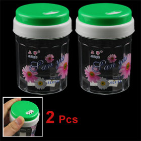 Home Table Green Cover Plastic Rotatable Toothpick Holder 2 Pcs