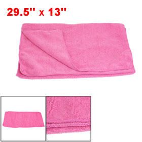 Home Hotel Rectangular Design Solid Pink Washcloth Towel 33 x 75cm