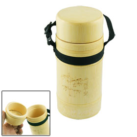 Wooden Color Water Holder Bamboo Bottle Cup w Black Nylon Strap