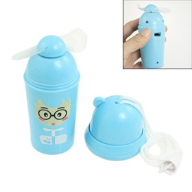 Tabletop Plastic Ice Cream Cone Portable Mini Pocket Fan Baby Blue