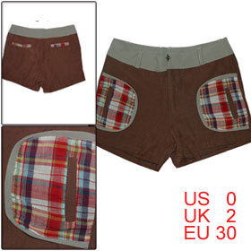 Zip Fly Checked Fake Side Pocket Coffee Color Shorts XS for Women