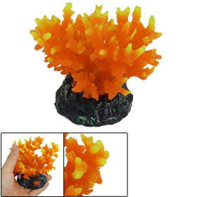 "Orange Aquarium Tank Silicone Artificial Coral Plant Decor 3.5"" Height"