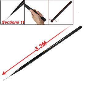 5.3M 17.4 Feet 11 Sections Telescopic Fish Pole Fishing Rod w Storage Case