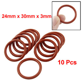 10 Pcs Brick Red Silicone O Ring Seal Washer 24mm x 30mm x 3mm
