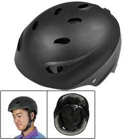 Men Foam Inner Black Plastic Sports Cycling Skating Paratrooper Helmet