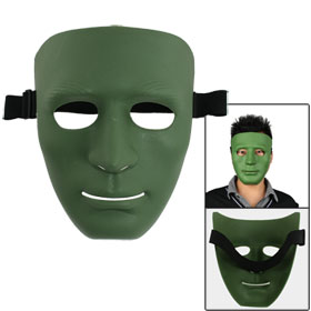 Men Adjustable Black Elastic Band Full Face Plastic Plain Mask Green for Airsoft War Game