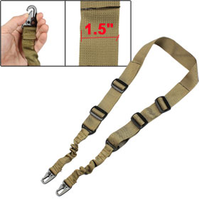 Airsoft War Game Khaki Single Prong Metal Buckle Elastic Gun Rope Sling