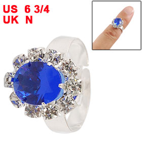 Blue Faux Crystal Inlaid Metal Finger Ring Jewelry for Women