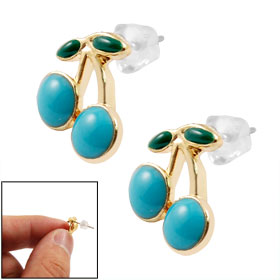 Women Girl Turkey Blue Green Cherry Shape Screw Back Stud Earrings Pair